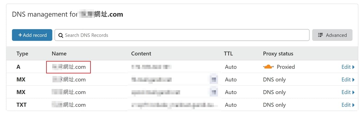 cloudflare dns a 1